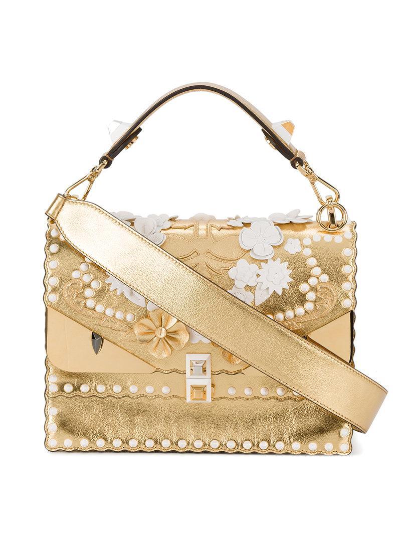 Lyst - Fendi Kan I Embossed Bug Shoulder Bag in Metallic - Save 60% d015f6dc8556d