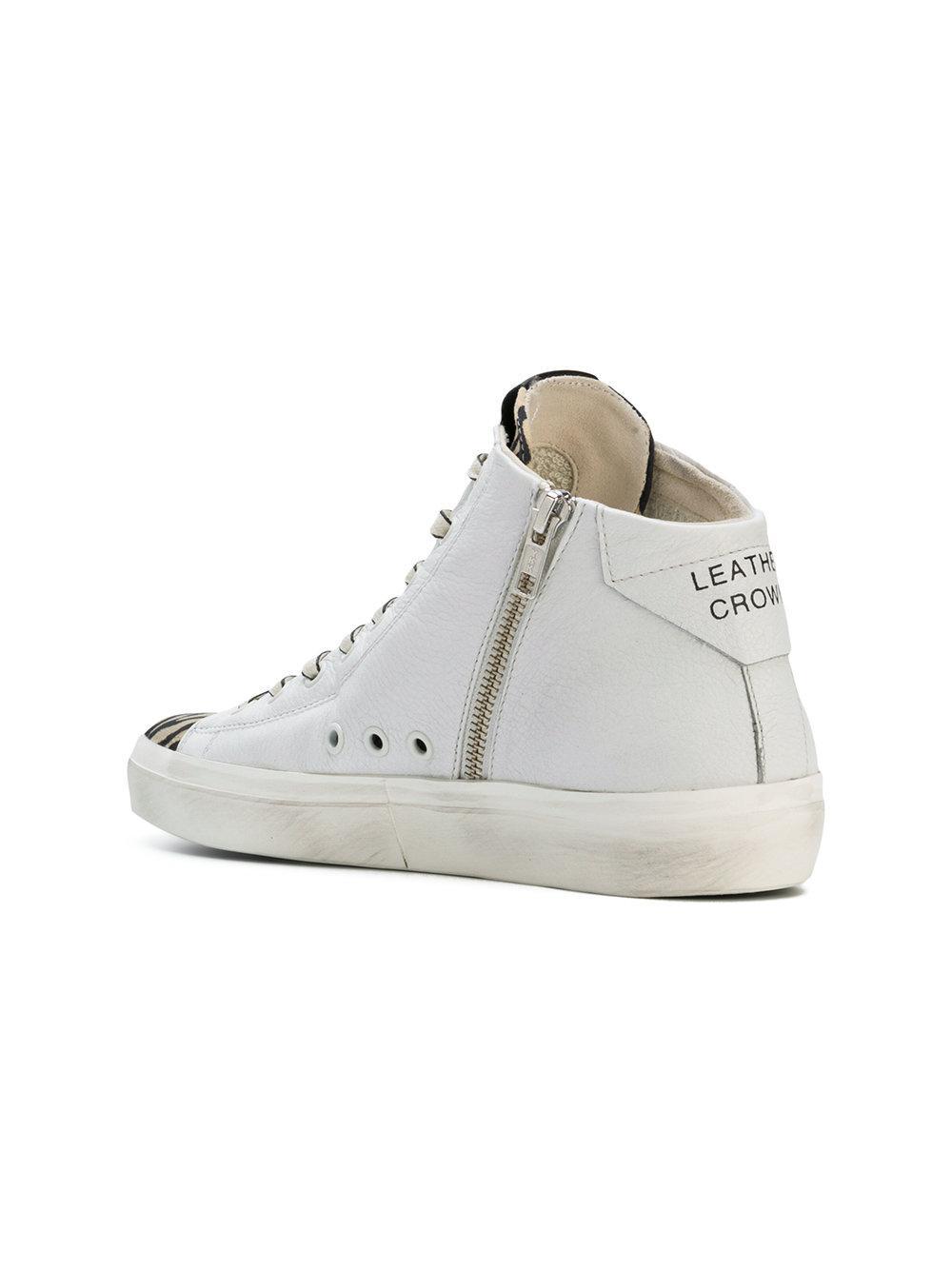 hi-top zebra sneakers - White Leather Crown Ko4aBFbA