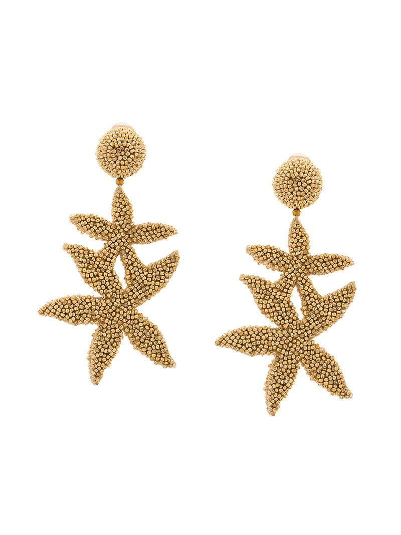 double starfish earrings - Metallic Oscar De La Renta KpBYg6j