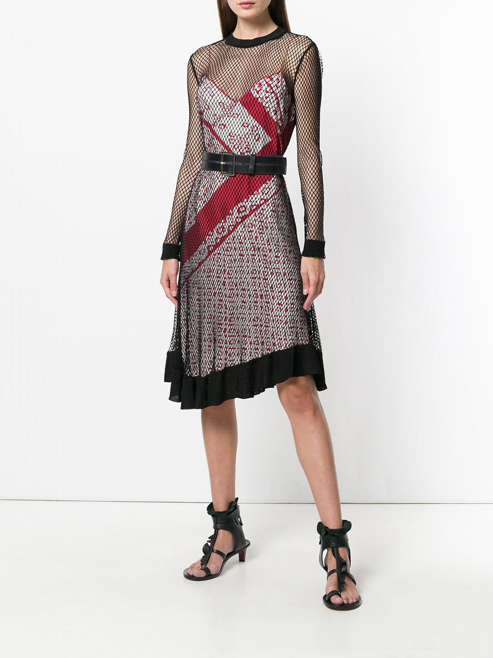 engineered animal stripe print cami dress with mesh overlayer - Multicolour Altuzarra JDTAYFk