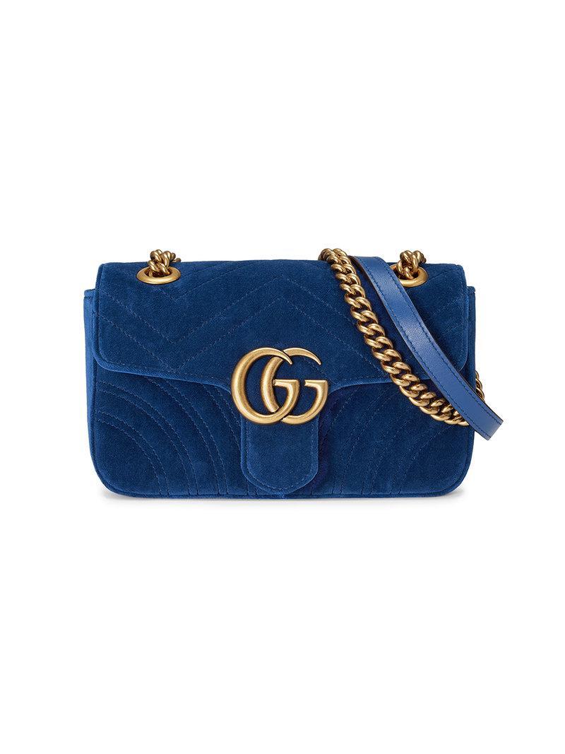 fb197c08277f6c Gucci Blue GG Marmont Mini Velvet Bag in Blue - Lyst