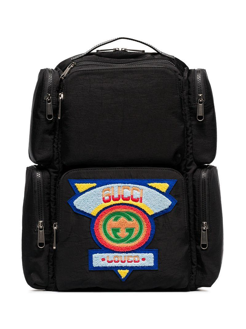 55c37f31a2c Gucci 80 s Logo Patch Backpack in Black for Men - Lyst