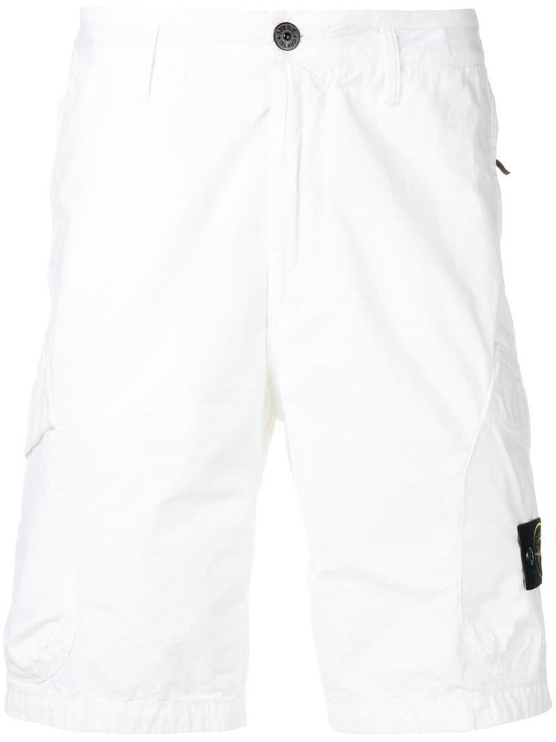 d2030bf37aa98 Lyst - Stone Island Logo Patch Shorts in White for Men