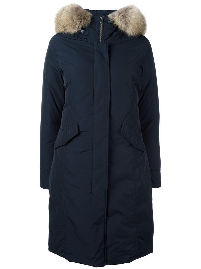 Woolrich Long Arctic Parka Coat in Blue | Lyst