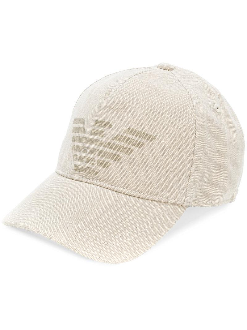 fee4c68d957 Lyst - Emporio Armani Logo Printed Baseball Cap in Natural for Men