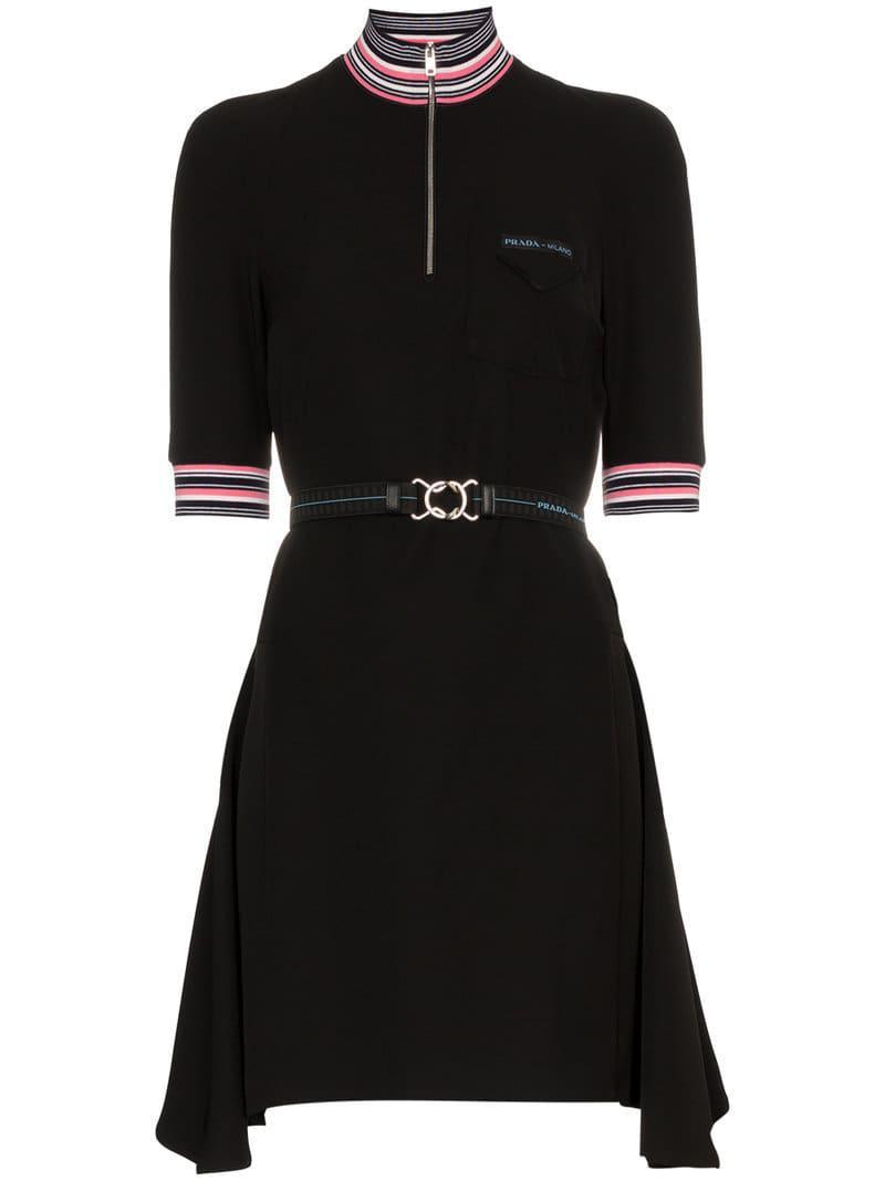 c507153d44801 Prada Kleid mit kurzen Ärmeln in Schwarz - Lyst