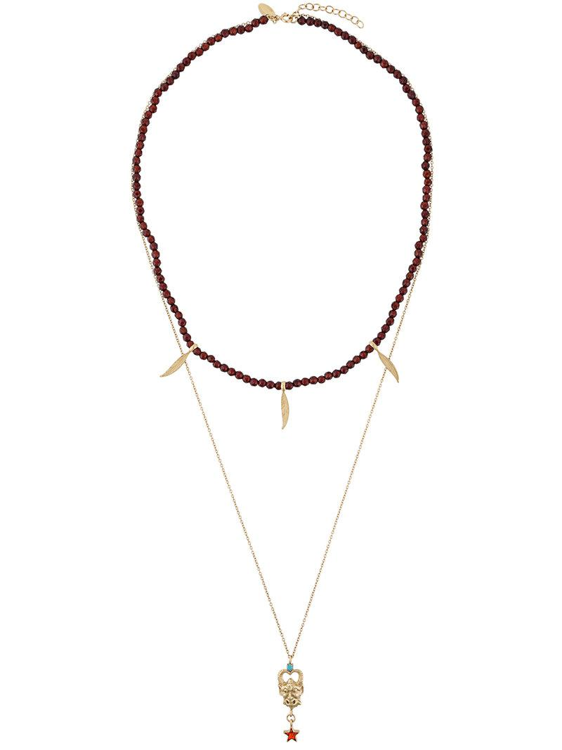 Iosselliani Puro Satyr red agate double necklace - Metallic GZKDZX