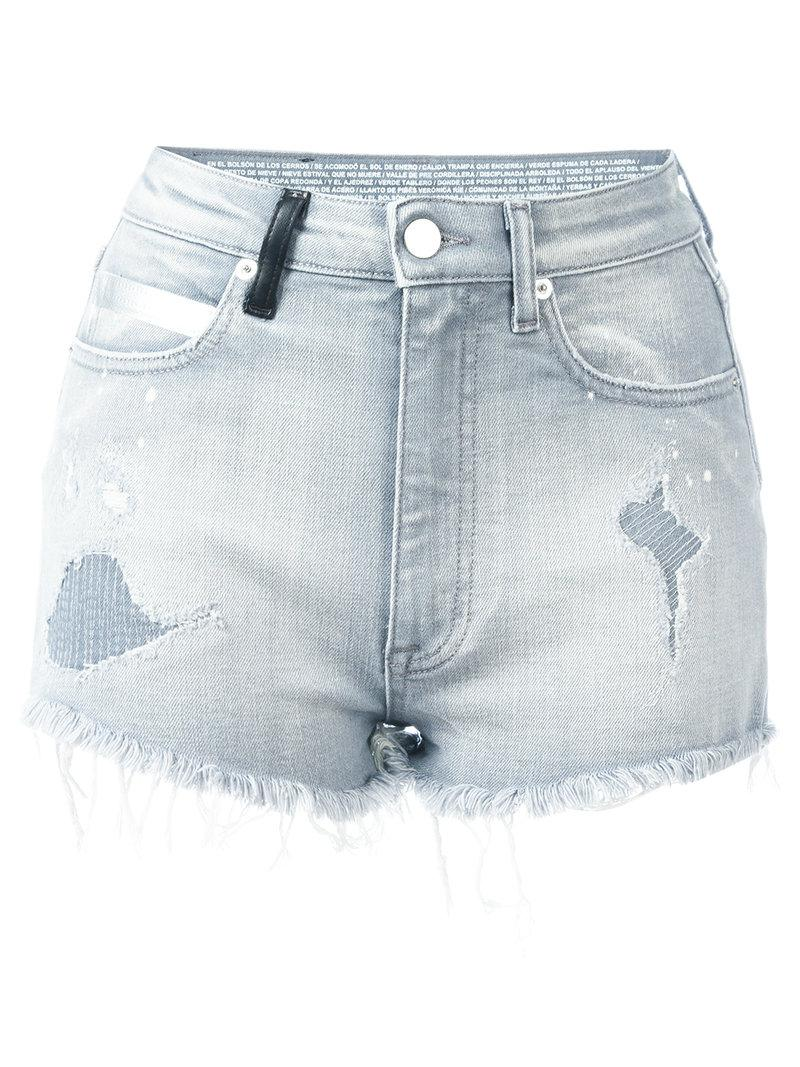 fitted denim shorts - Grey Marcelo Burlon In China Sale Online Discount Low Price Fee Shipping Good Selling Sale Online 2018 New Cheap Sale Release Dates 6jowm
