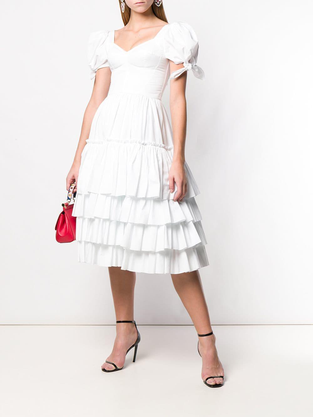 e1ac9efb492 Dolce   Gabbana Ruffled Poplin Dress in White - Lyst