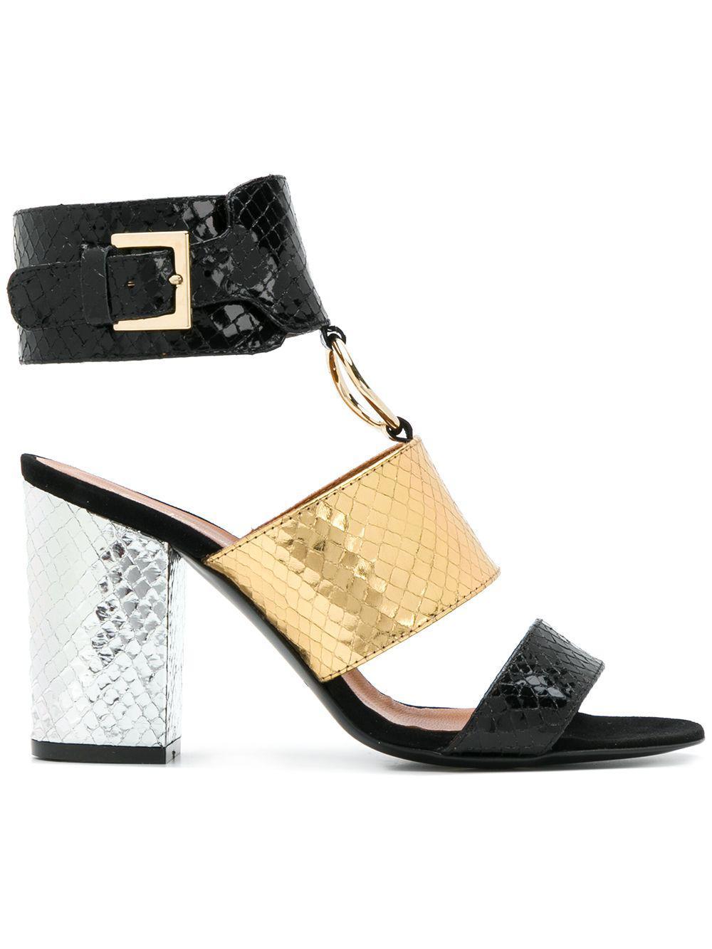 468e2fc33147e Lyst - Via Roma 15 Snakeskin-effect Ring Detail Sandals in Black