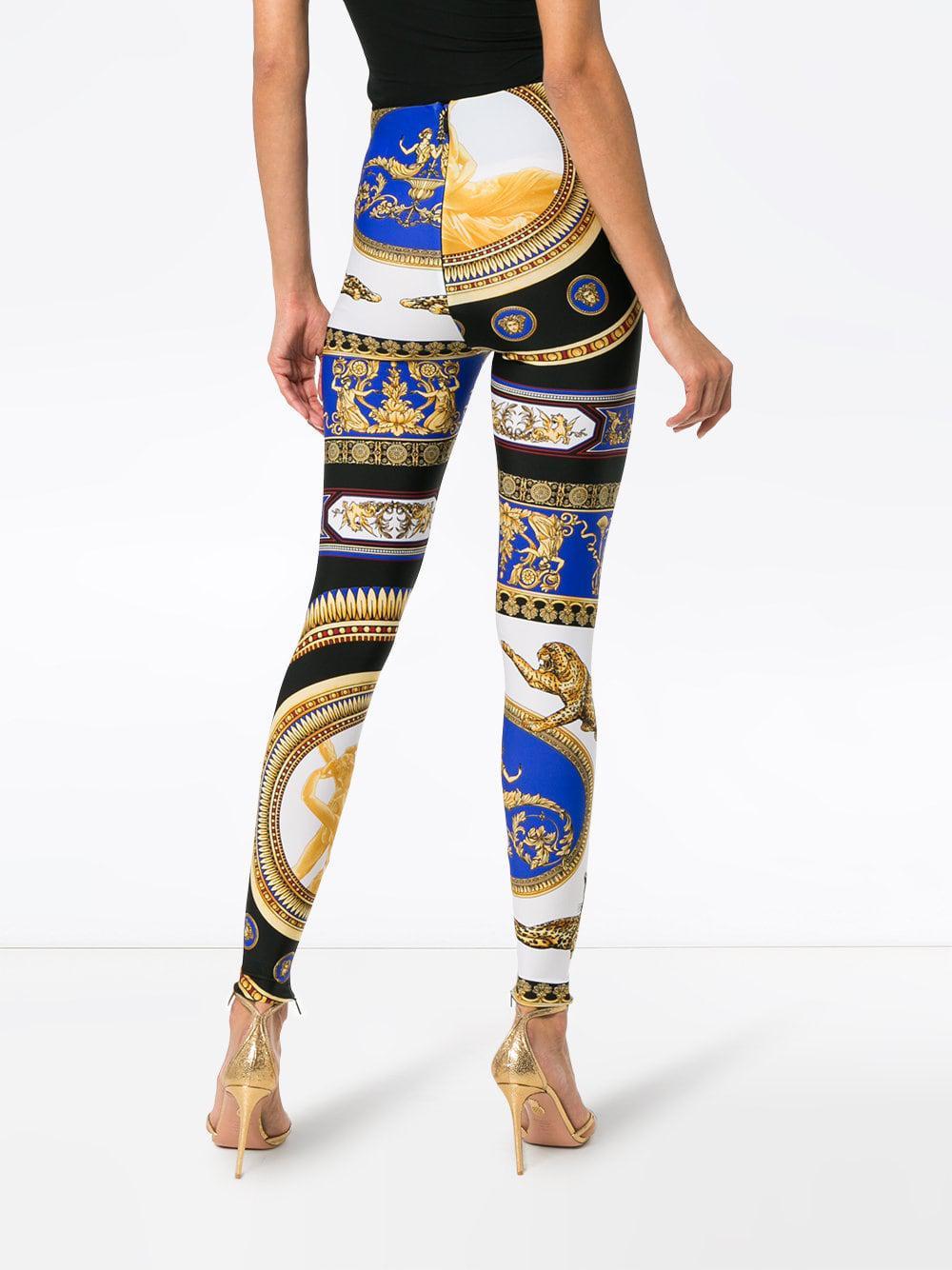 74db7b25344c4 Versace The Lovers Print leggings in Blue - Lyst