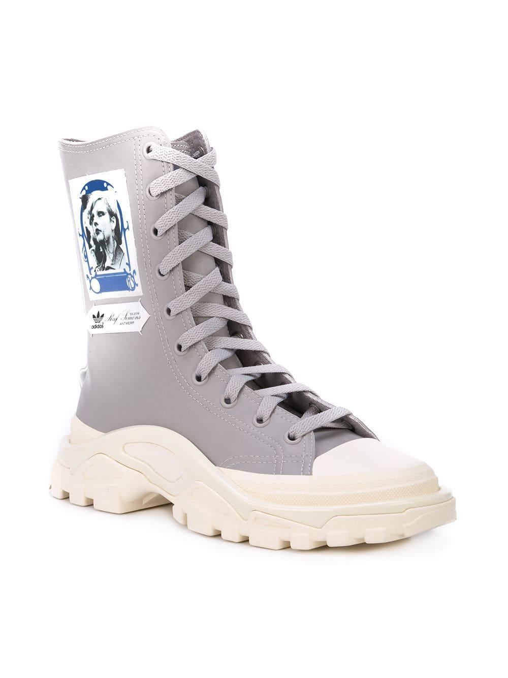 factory price 48800 034dd ... Grey X Raf Simons Detroit High Leather Sneakers. View fullscreen