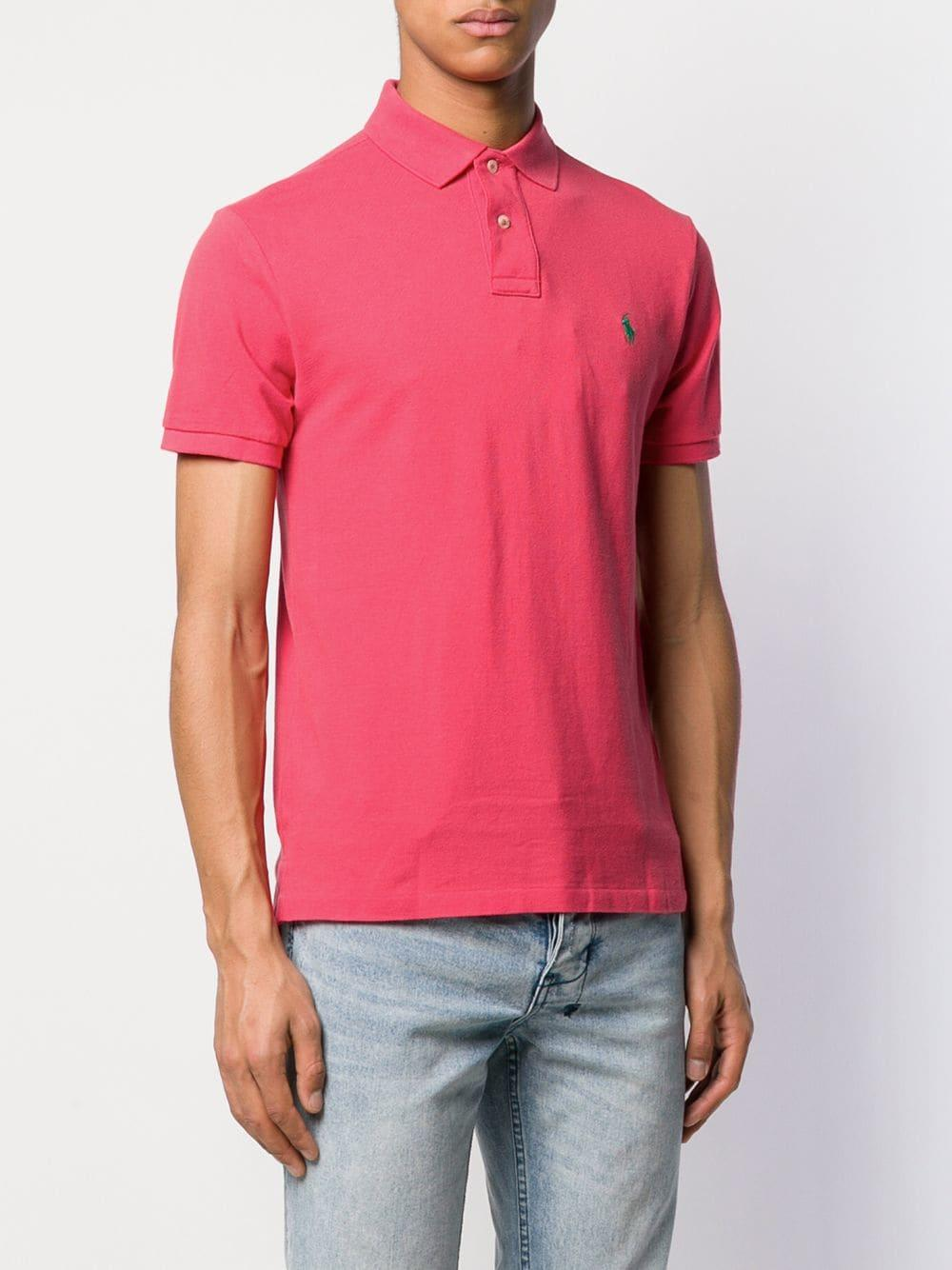 64f414c6a Polo Ralph Lauren - Pink Logo Embroidered Polo Shirt for Men - Lyst. View  fullscreen
