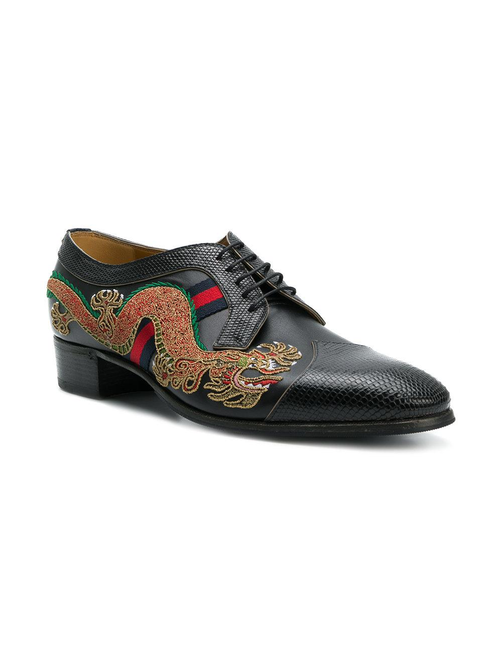 bdd105df7cbf6 Gucci Dragon-embroidered Lace-up Shoes in Black for Men - Lyst