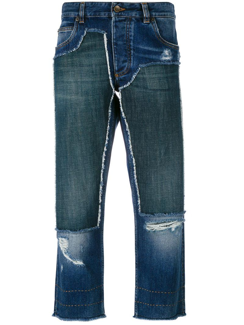 lyst dolce gabbana cropped patch jeans in blue save 60. Black Bedroom Furniture Sets. Home Design Ideas