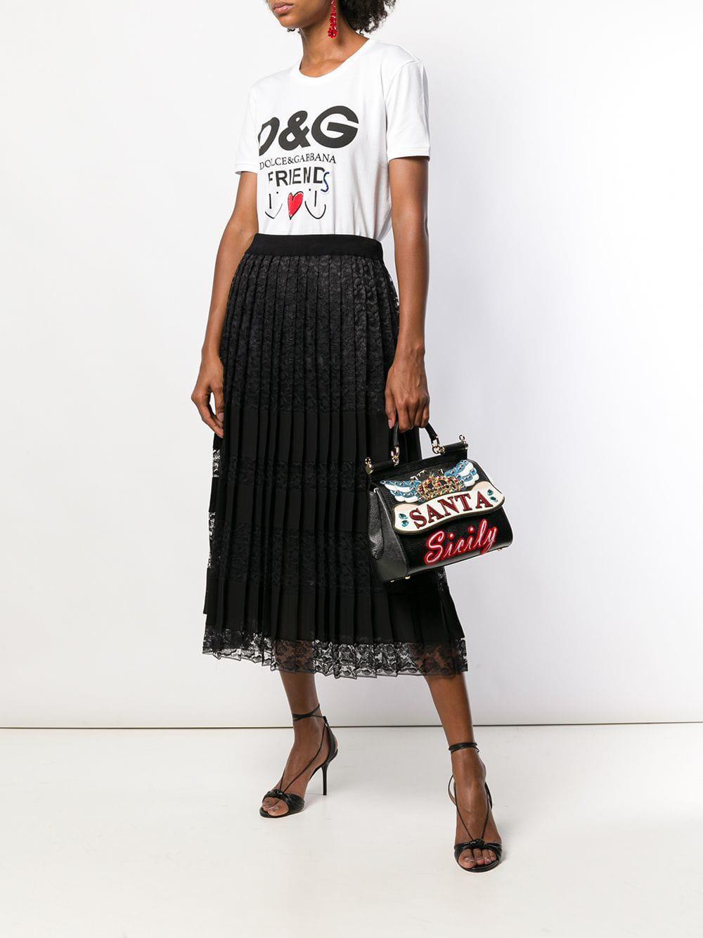 d23a8257236b Dolce   Gabbana Sicily Printed Mini Bag in Black - Lyst