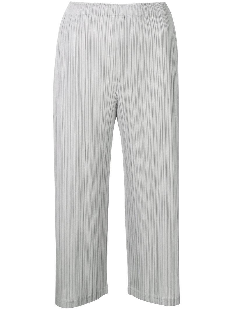 486ec123b316 Lyst - Pleats Please Issey Miyake Loose Fit Cropped Trousers in Gray