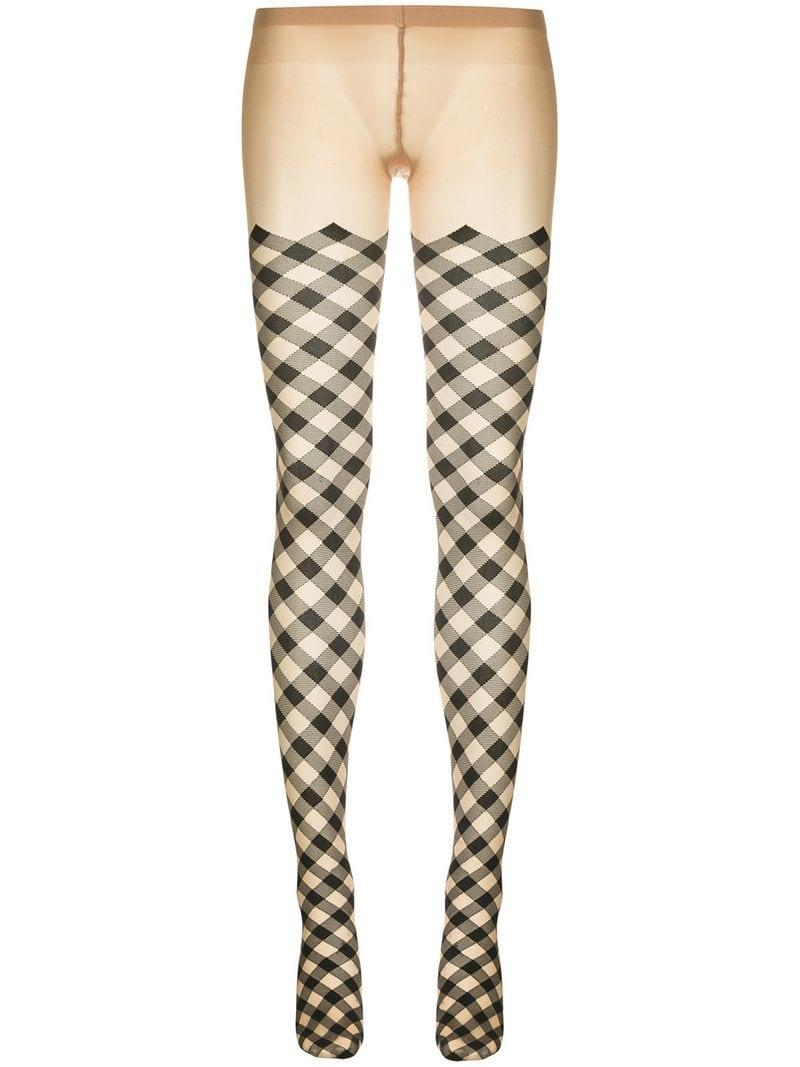 9af46f1f3dcf7 Lyst - Wolford Checked Tights in Brown