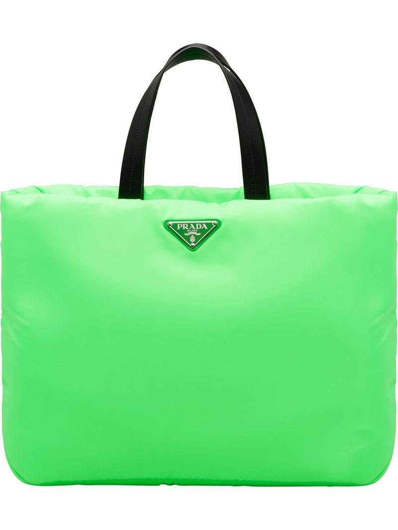 dd03cebc30b3 Prada Neon Green Padded Tote Bag in Green - Save 9% - Lyst