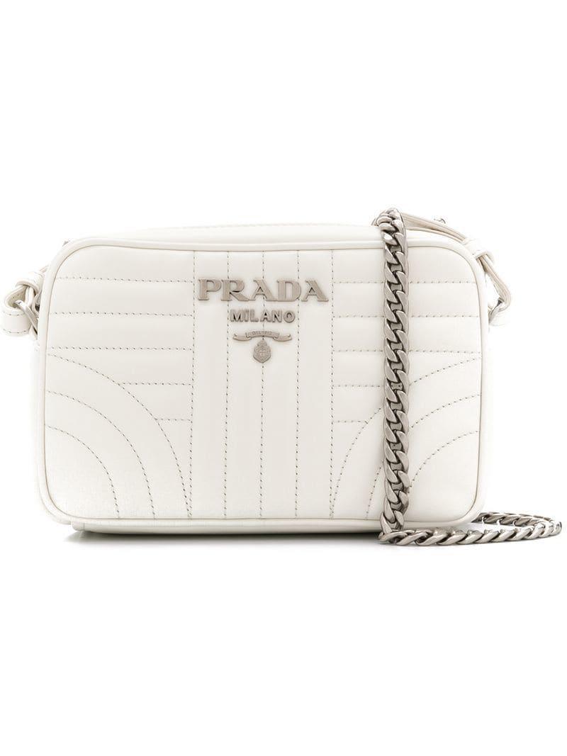 f3e21e2f8d793f Prada Diagramme Cross-body Bag in White - Lyst