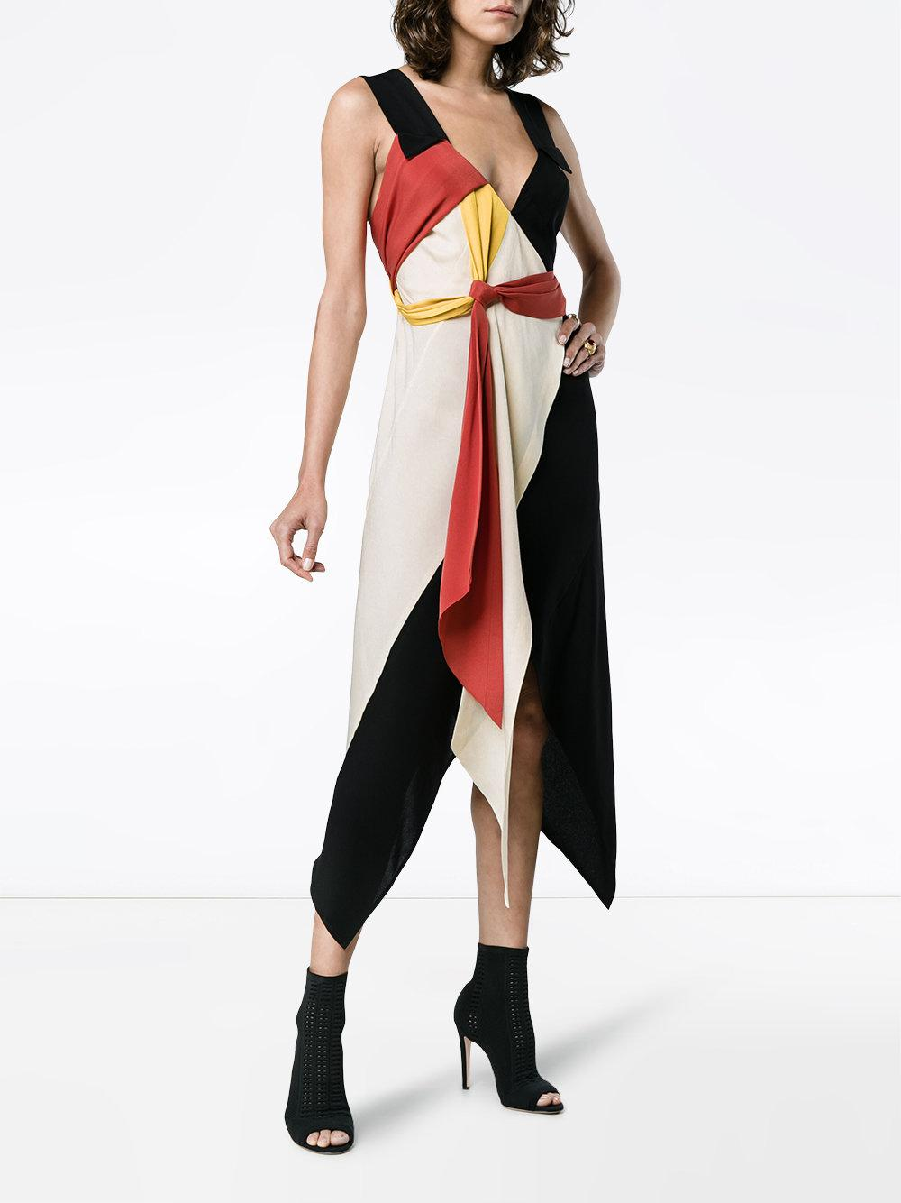 black and red Diversity Spiral draped silk dress - Multicolour Kitx ANEqGUN