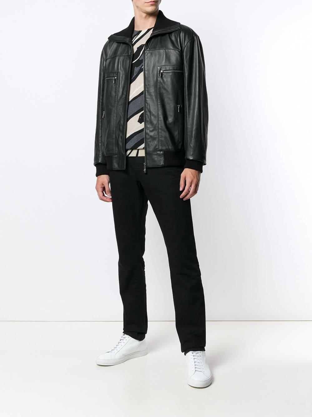 Class Roberto Cavalli - Black Leather Bomber Jacket for Men - Lyst. View  fullscreen 01a0bb6d248