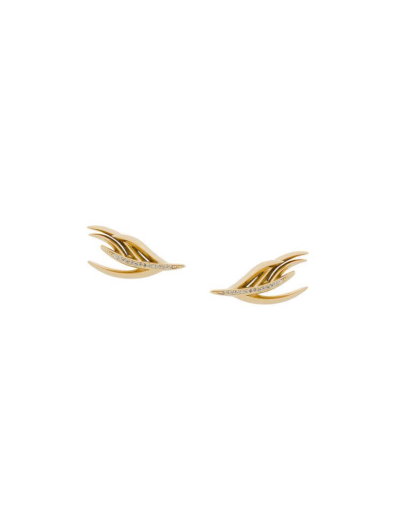 Shaun Leane White Feather diamond earrings - Metallic ScQqdG