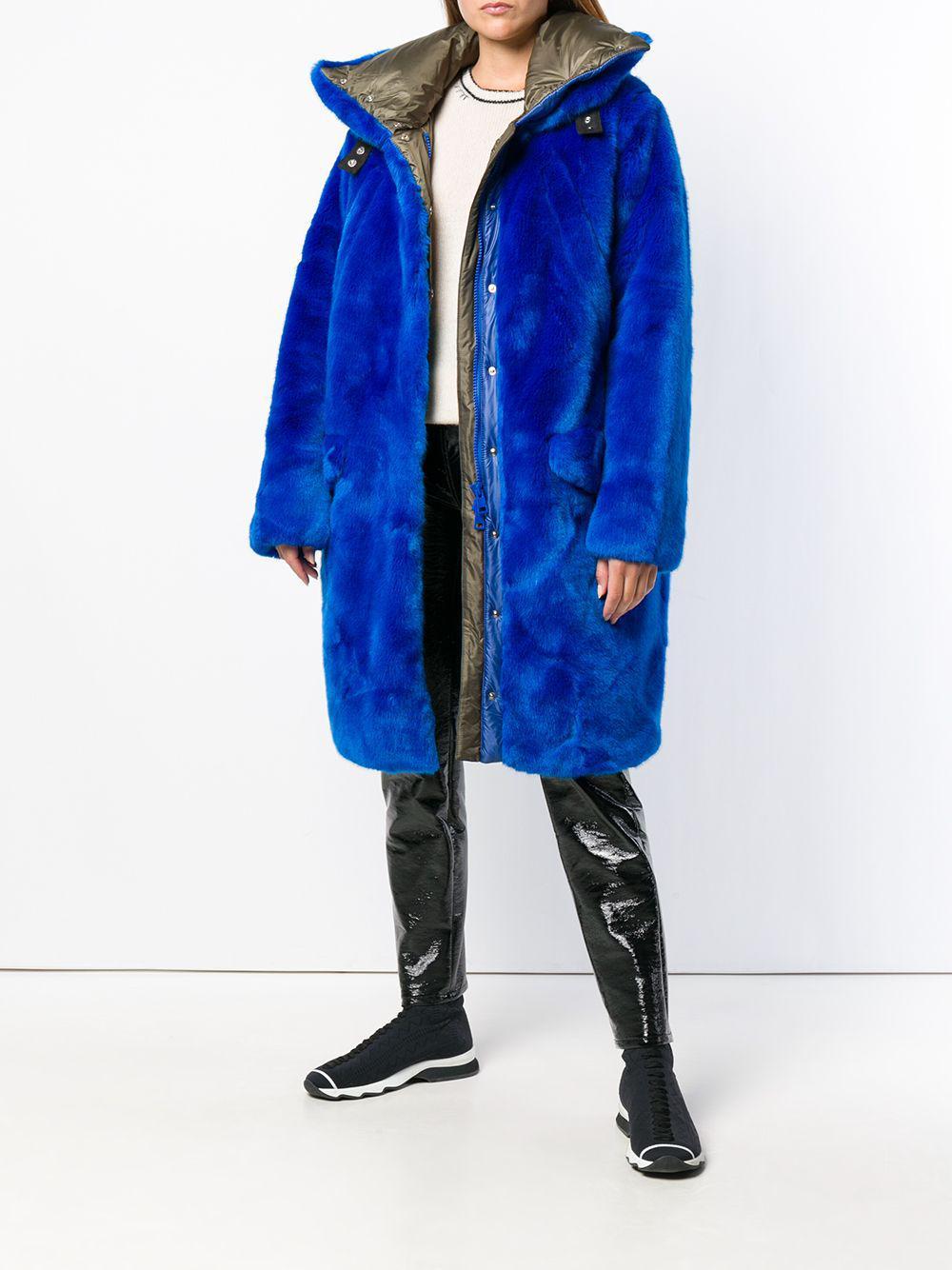 Blue Coat In Lyst Faux Midi Fur Rossignol Fu1lKcJ53T