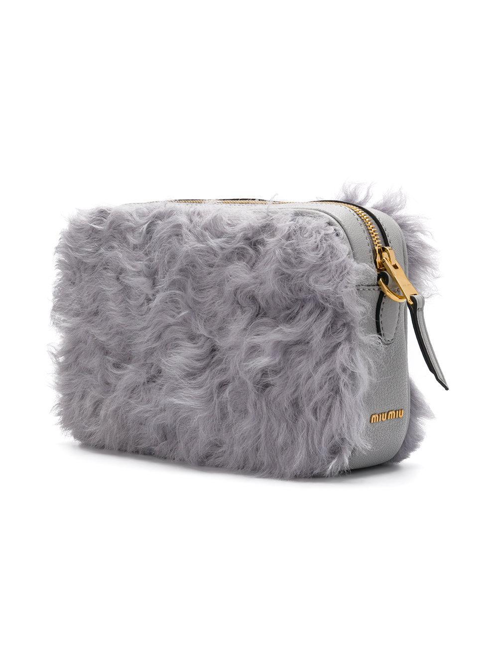 42bc5331f8f Lyst - Miu Miu Top Zip Fluffy Bag in Gray