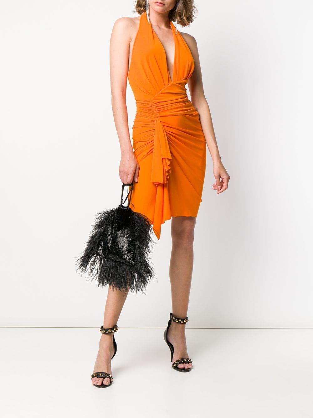 da7541a0 Lyst - Alexandre Vauthier Halter Neck Dress in Orange