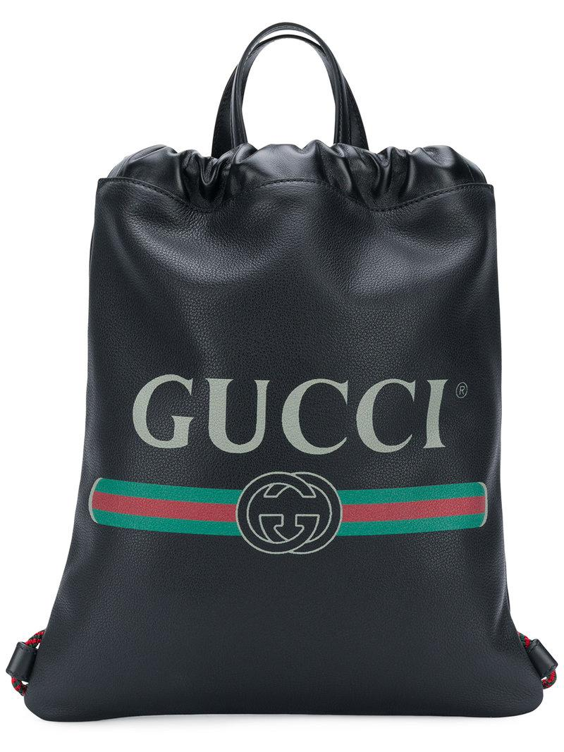 37902895ba5 Gucci - Black Logo Drawstring Backpack - Lyst. View fullscreen