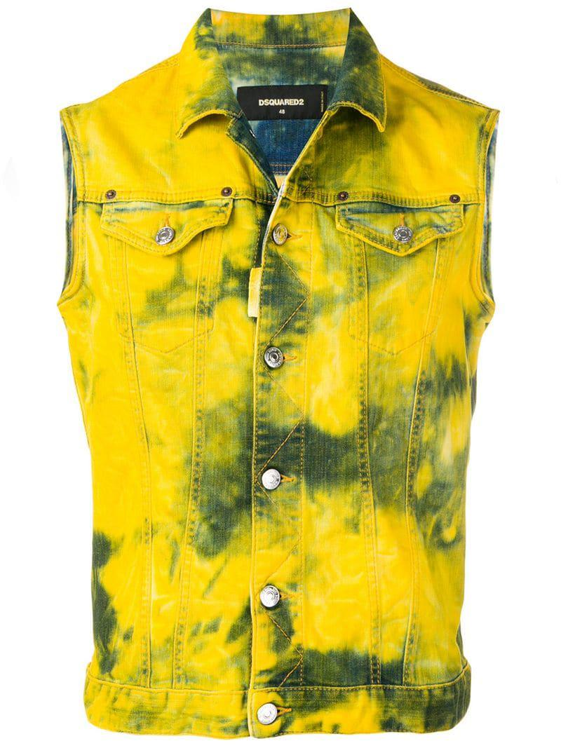 b25acc32a40a5c Lyst - DSquared² Sleeveless Denim Jacket in Yellow for Men