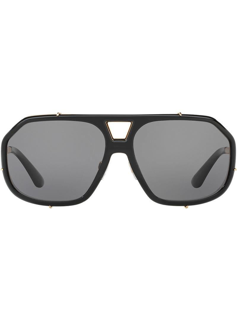 58577669fb5 Dolce   Gabbana Tinted Aviator Sunglasses in Black for Men - Lyst
