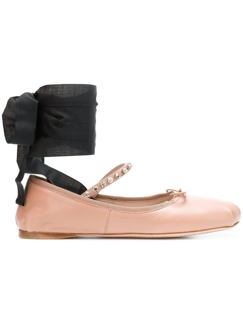 tie detail ballerinas - Nude & Neutrals Miu Miu 2Onbba4Om