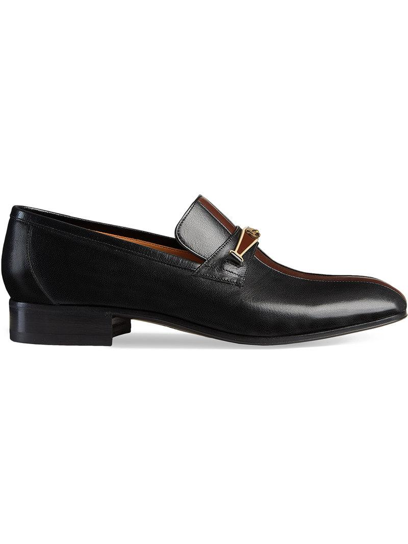 7ccaa1ee16a Lyst - Gucci Leather Loafer With Stripe in Black for Men