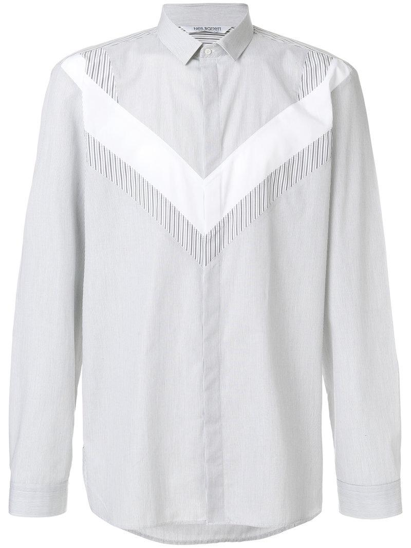 Best Online Discount Official Casual shirt slim collar dark blue striped Neil Barrett Sale Sneakernews KBUOzr5