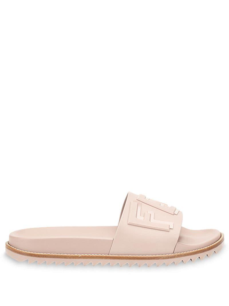 4fb236d72ee0 Lyst - Fendi Raised Logo Slide Sandals in Pink for Men