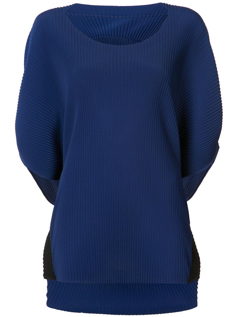 lyst issey miyake ribbed knit top in blue. Black Bedroom Furniture Sets. Home Design Ideas
