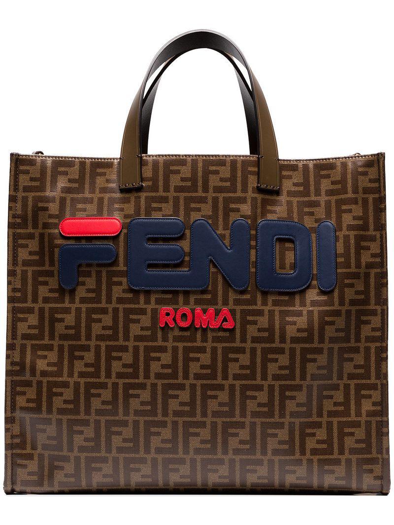77e79efdc392 Lyst - Fendi Mania Brown Logo Print Tote Bag in Brown - Save 45%