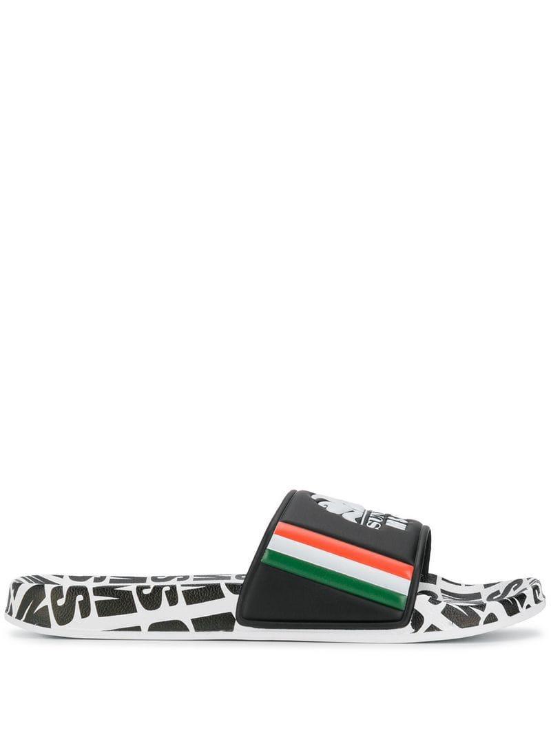 52d71827b8612 MSGM Logo Sliders in Black for Men - Lyst