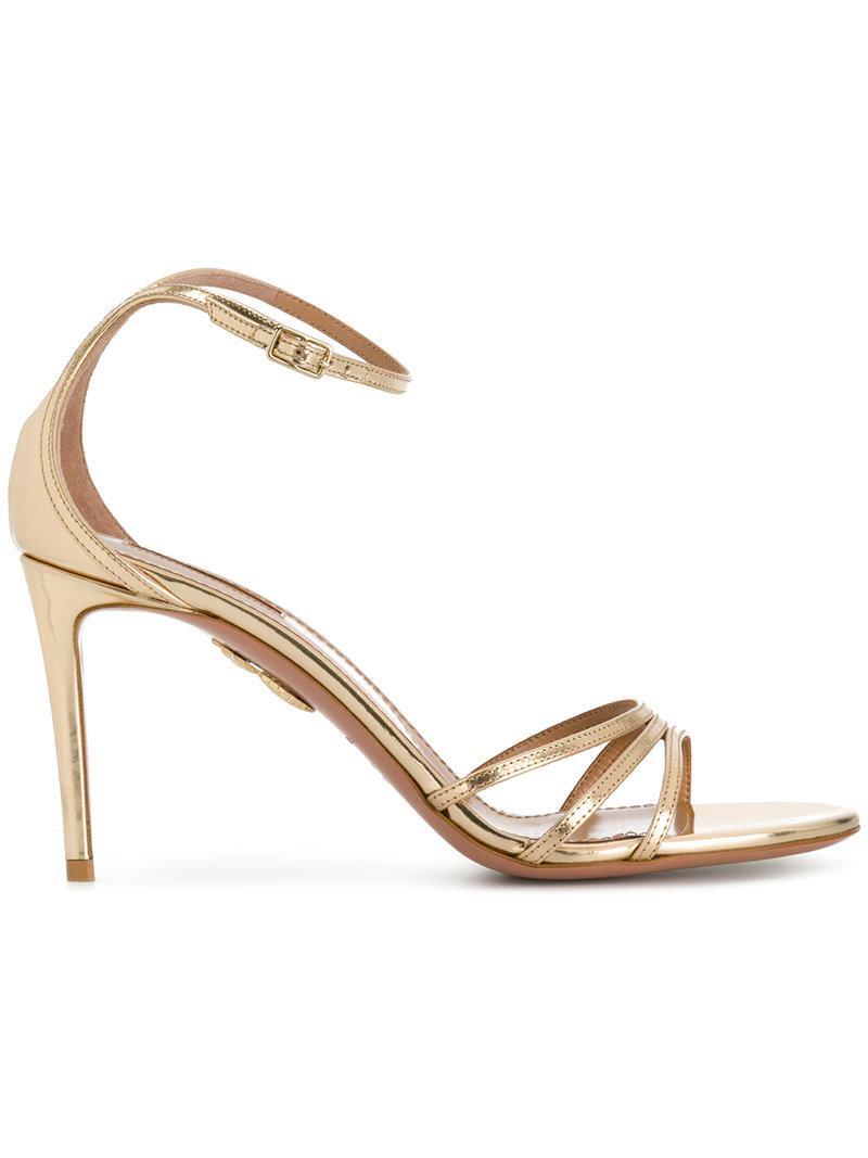 5db05f766 Lyst - Aquazzura Mirrored Strappy Sandals in Metallic