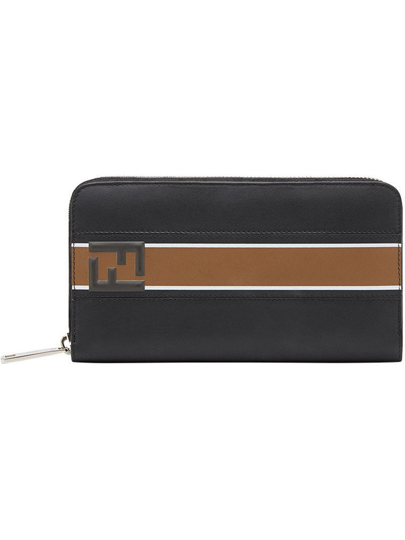 Lyst - Portefeuille continental à logo Fendi pour homme en coloris Noir 3f6b5578442