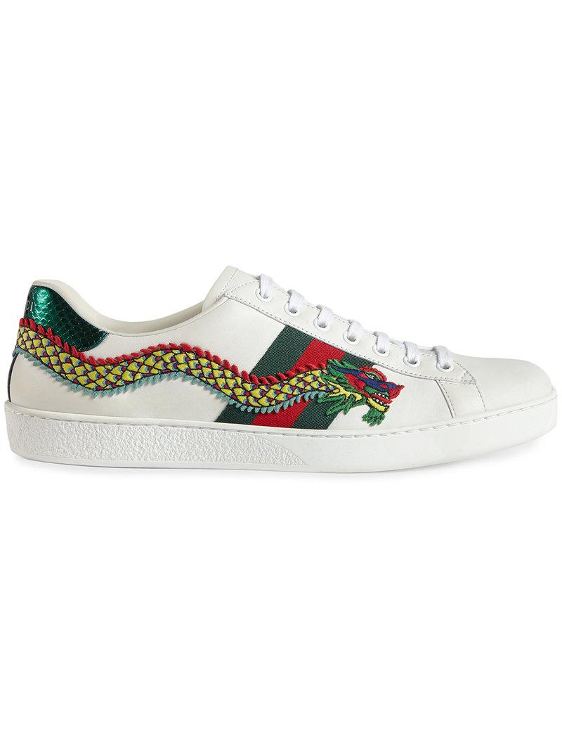 e7c100030 Gucci Sneaker Bassa Ace Ricamata in White for Men - Lyst