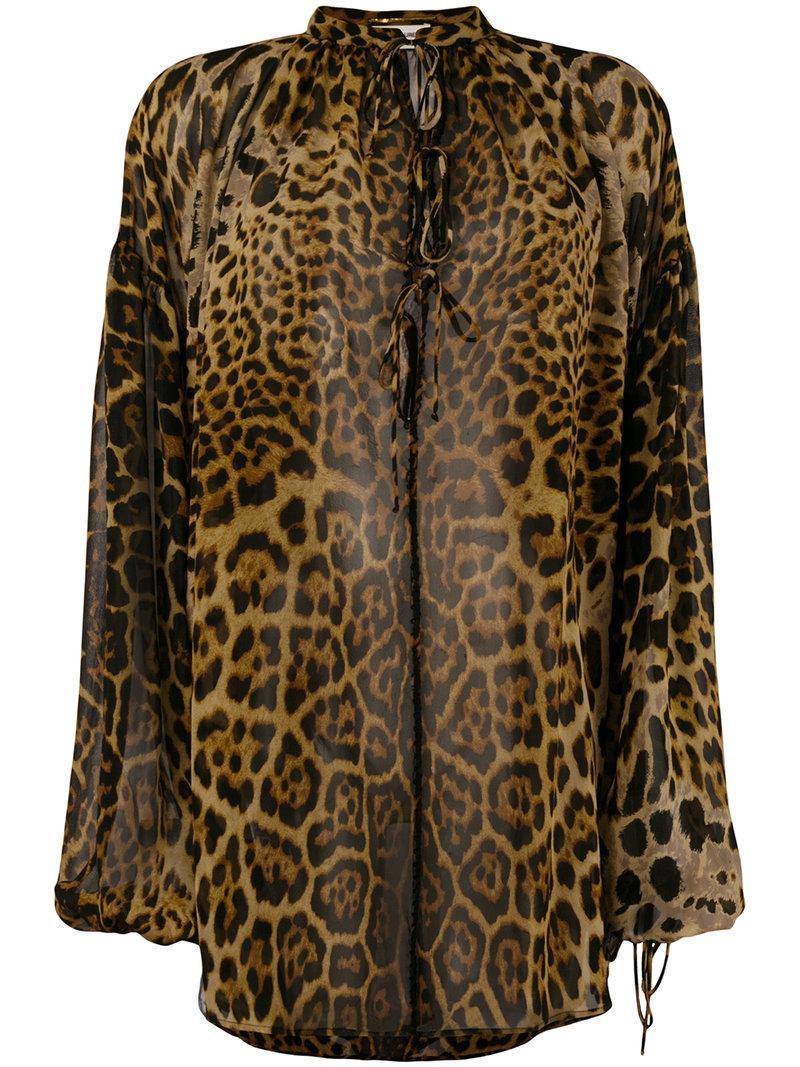 Sale Reliable Stockist Online Saint Laurent leopard print poet blouse Discount Fast Delivery sif8EwjKxz