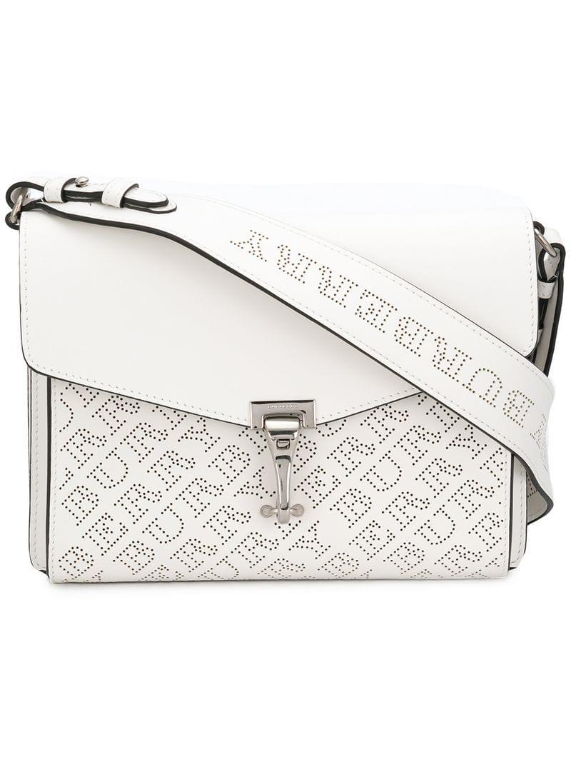 5fb4c5e68d57 Burberry Small Perforated Logo Crossbody Bag in White - Lyst