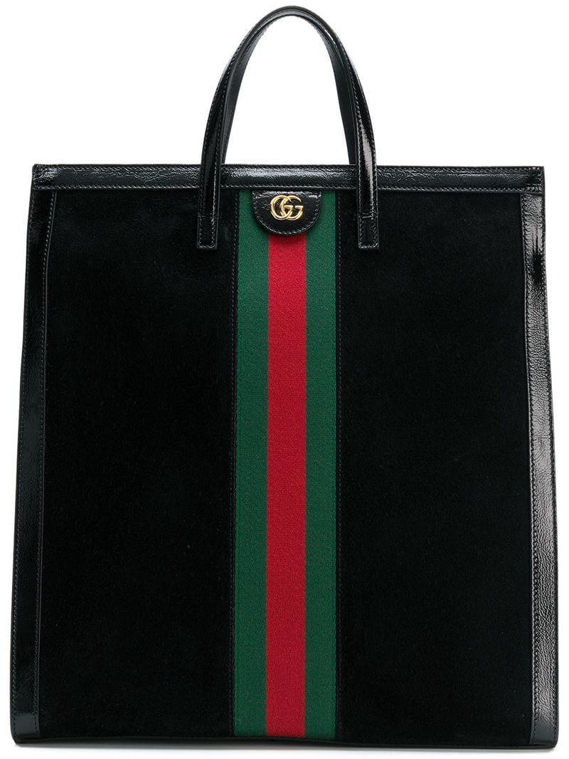 d0869f9b93c Gucci Ophidia Web Logo Tote Bag in Black - Save 1% - Lyst