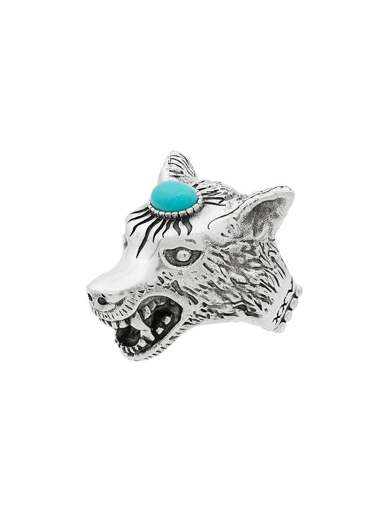 6a0cc610aadb Gucci Metallic Anger Forest Sterling Silver Wolf Head Ring in ...