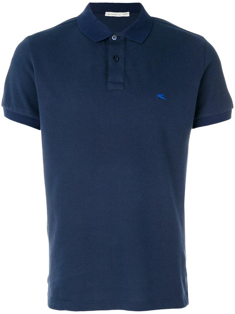 Lyst etro embroidered logo polo shirt in blue for men for Embroidered logos on shirts