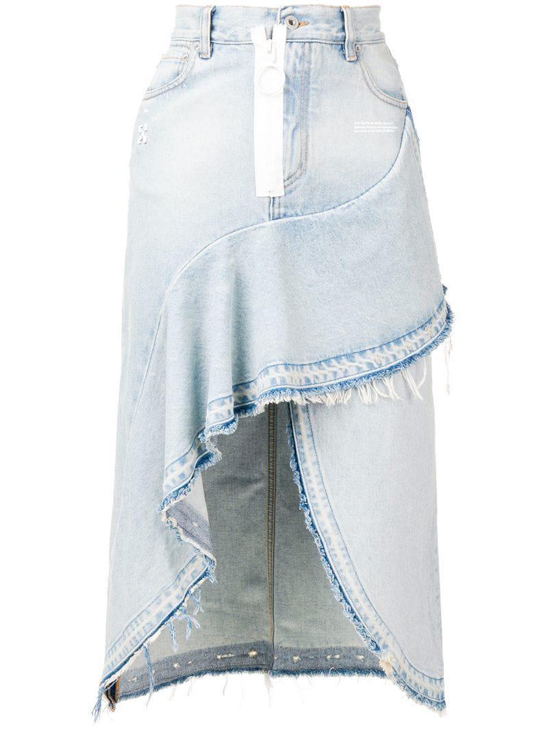 5e96bb840c Off-White C/O Virgil Abloh Asymmetric Denim Skirt in Blue - Lyst