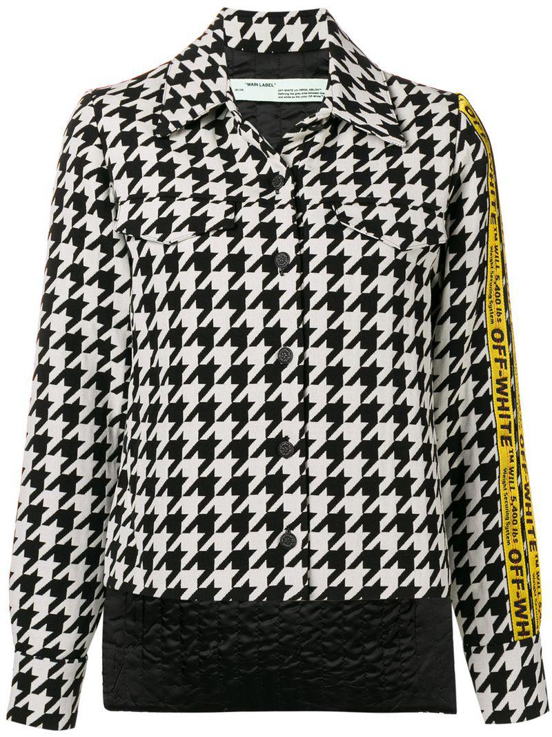 592f8c625d5ab Off-White c o Virgil Abloh Canvas Jacquard-trimmed Houndstooth Wool ...
